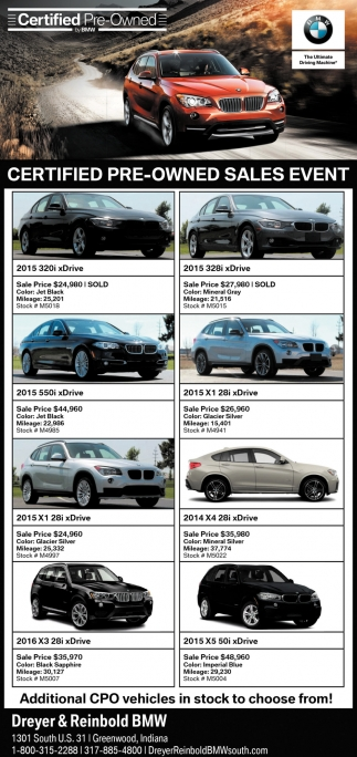 Certified Pre Owned Sales Event Dreyer And Reinbold Bmw Greenwood In
