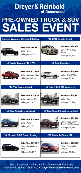 Pre-Owned Truch And SUV Sales Event