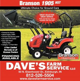 Branson Tractors, Dave's Farm Service LLC, Edinburgh, IN