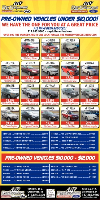 Pre-Owned Vehicles Under $10,000!
