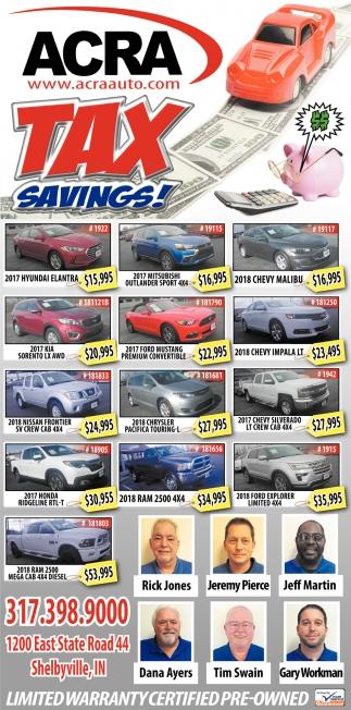 Tax Savings!