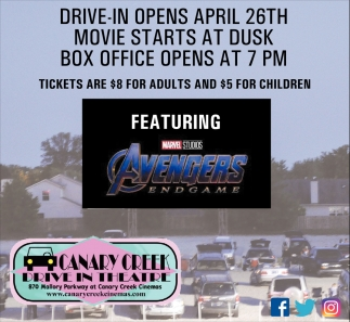 Drive-In Opens April 26th
