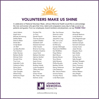 Volunteers Make Us Shine