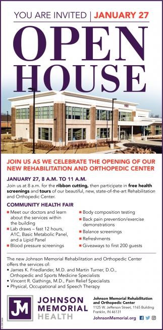 You Are Invited - January 27 - Open House
