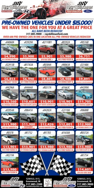 Pre-Owned Vehicles Under $15,000!