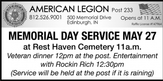 Memorial Day Service May 27