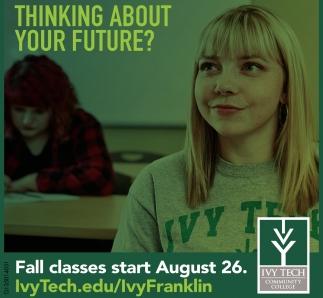 Fall Classes Start August 26