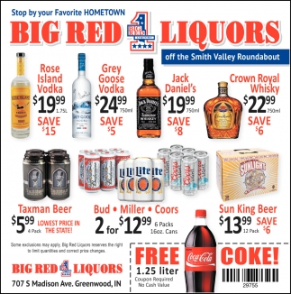 Stop By Your Favorite Hometown Big Red Liquors