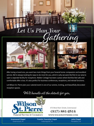 Let Us Plan Your Gathering