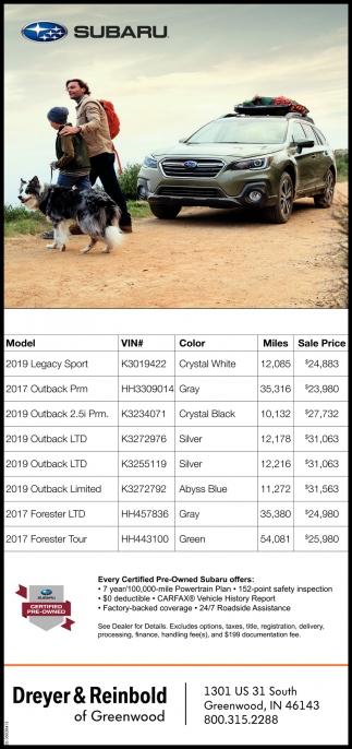 Subaru Certified Pre-Owned.