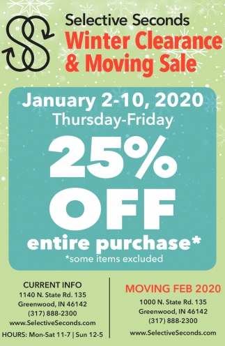 Winter Clearance & Moving Sale