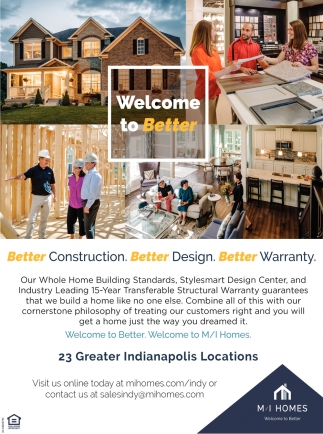 Welcome To Better, M/I Homes on design of the america's center, toll brothers design center, k. hovnanian design center, dr horton design center,