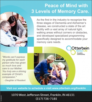 Peace Of Mind With 3 Levels Of Memory Care