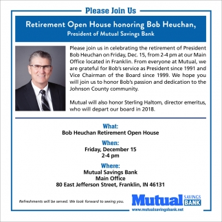 Retirement Open House Honoring Bob Heuchan