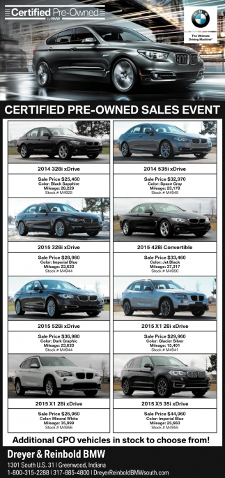 Certified Pre Owned Sales Event Dreyer And Reinbold Bmw