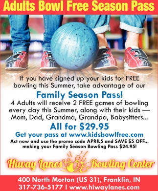 Adults Bowl Free Season Pass