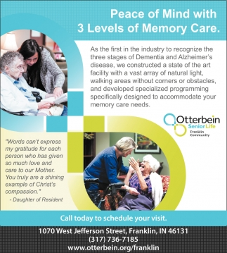 Peace Of Mind With 3 Levels Of Memory Care.