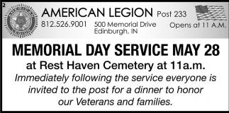 Memorial Day Service May 28