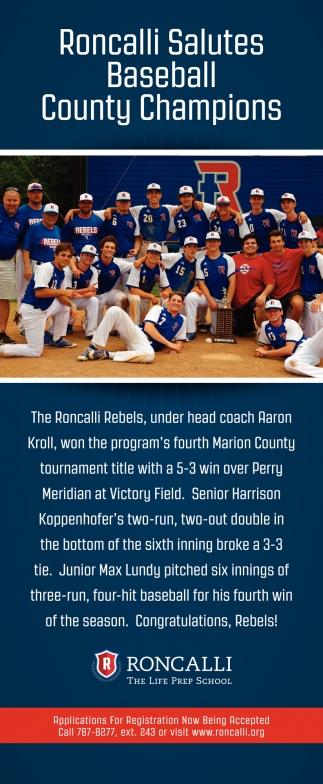 Roncalli Salutes Softball County Champions